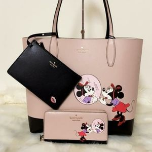 ⚜KateSpade Disney Minnie Mouse lg Tote and Wallet